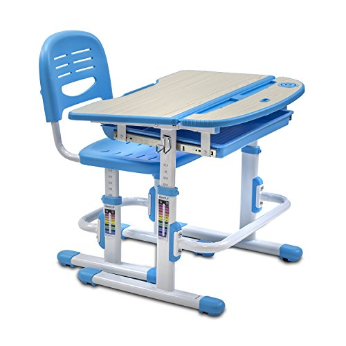 Mount-It! Children's Desk and Chair Set, Kids School Workstation, Height Adjustable, Blue by Mount-It!
