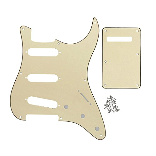 FLEOR 3Ply Cream SSS 8 Hole StratPickguard Guitar Backplate Tremolo Cavity Cover with Screw Set for Vintage Strat Style Guitar Parts