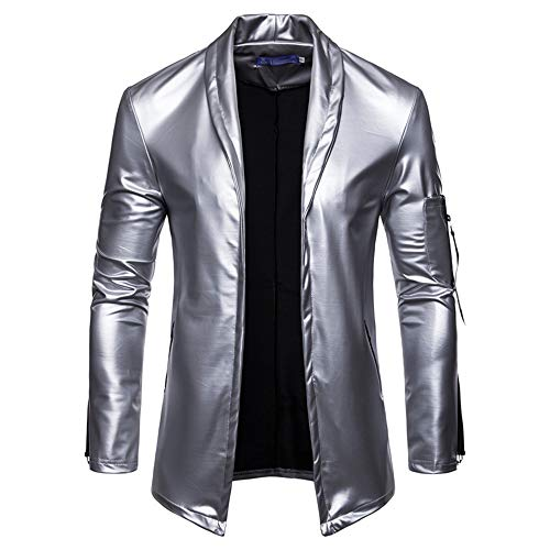 Men's New Casual Fashion Men's Solid Color Elastic Motorcycle Skin Leather Suit(Gold XX-Large)