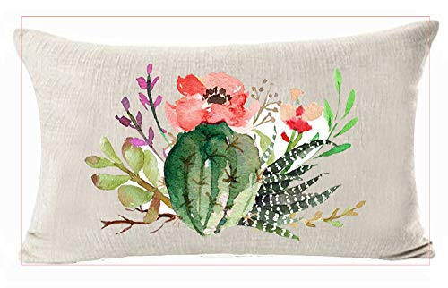 Ink Painting Beautiful Tropical Ornamental Potted Plant Desert Cactus Flowers Unique Design Cotton Linen Home Office Decorative Throw Waist Lumbar Pillow Case Cushion Cover Rectangle 12 X 20 Inches