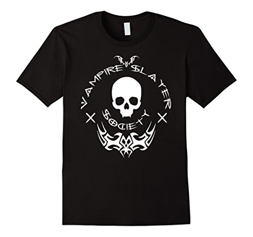Vampire Hunter Costumes (Mens Vampire Slayer Society - Halloween Vamp Hunter Shirt w/font Large Black)