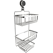 Lavish Home Wall Mounted 3 Tier Caddy-Hanging Shower Storage Rack for Bathroom Space Saving with Stainless Steel Twist Lock Suction Cup 3