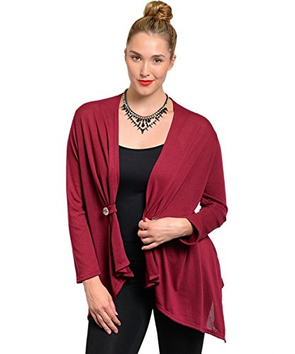 2LUV Plus Women's Button Tab Front Draped Cardigan Burgundy 1XL - Tab Front Sweater