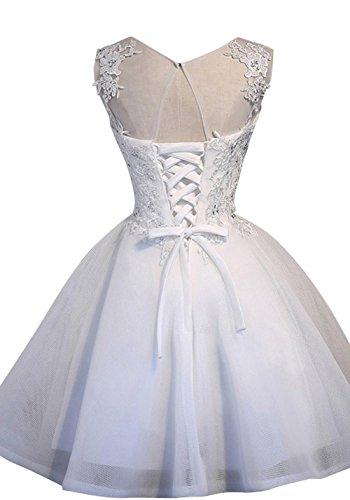 Abendkleider Braut La Beige Rock Romantisch Weiss Mini Marie Spitze Brautjungfernkleider Cocktailkleider qX5Z5TB