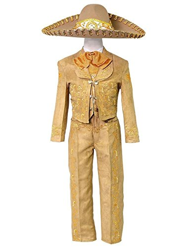 Calla Collection USA Little Boys Tan Embroidered Mariachi Pants Jacket Hat Set -