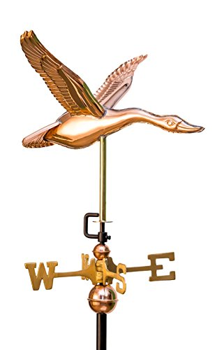 East Coast Weathervanes and Cupolas Garden Flying Goose Weathervane (Copper, W/ Roof Mount) (Goose Weathervane)