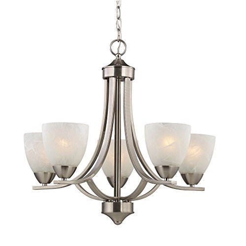 - Satin Nickel Chandelier with Alabaster Glass Shades