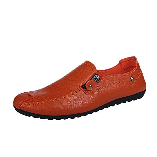 (iHPH7 Shoes Leather Dress Slip On Square Toe Loafer Shoes Comfortable Business Extra Wide Solid Color Round Toe Sewing Flat Heel Shallow Mouth Leather Shoes Men (44,Orange))