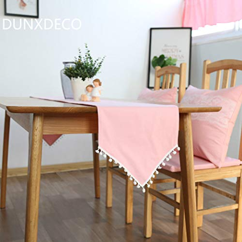 (US-ROGEWIN Table Runner Pink Cotton Cover Fabric Romantic Tablecloth Fresh Little Ball Round Cute Desk Decoration)