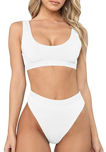 Sovoyontee Women's White Sexy High Waist Scoop Neck Bikini Swimsuit Bathing Suit S