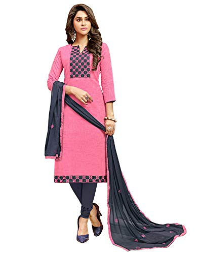 Viva N Diva Salwar Suit with Dupatta for Women's Light Pink Color Cotton Embroidered Non Stitched Dress Material, Indian Pakistani Wear
