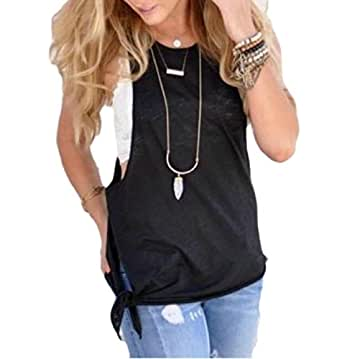 Maweisong Women's Casual Crossover Solid Back Workout Shirt Tank Top Black XS