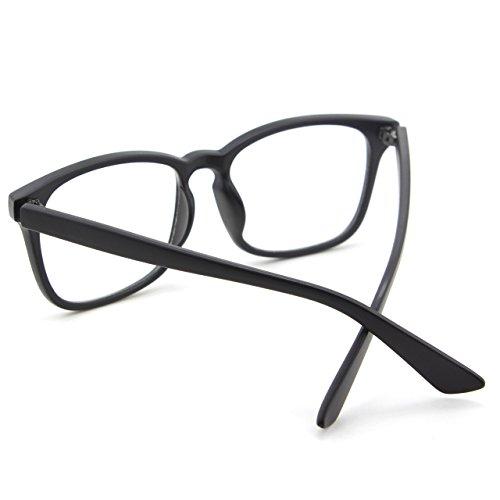 CGID CN82 Lunettes à monture décailles et verres transparents UV400 monture audacieuse oversized grosses Matte Black