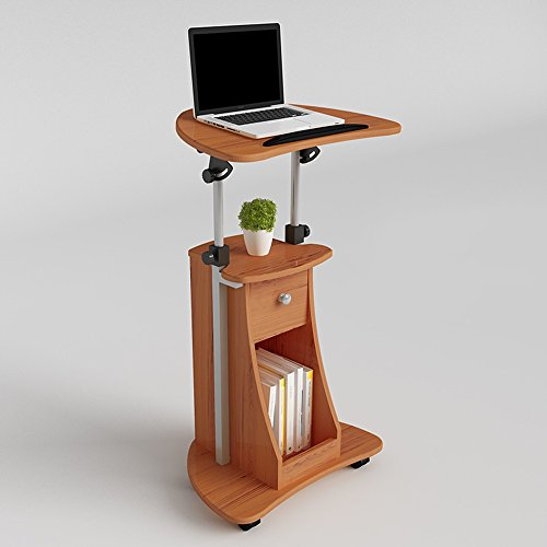Tables MEIDUO Sit-to-Stand Rolling Adjustable Height Mobile Stand Laptop Desk Cart With Storage Office 4 colors (Color : Teak color)