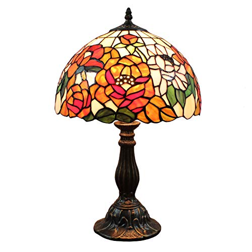 (FBOSS Tiffany Style 12 Inch Rich Peony Flower Pastoral Stained Glass Table Lamps for Living Room)