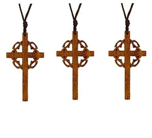 Sterling Gifts Cross Wood Necklaces with Crown of Thornes for Easter Pack of 12