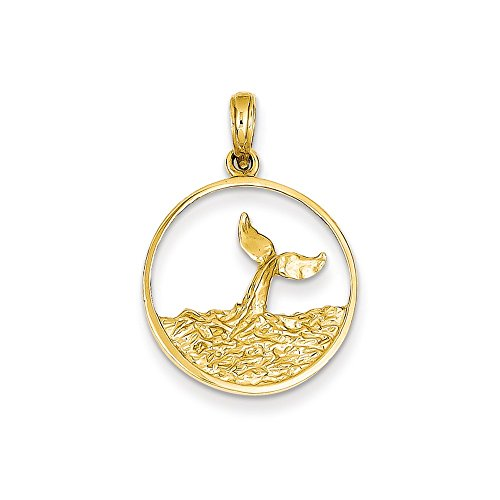 14k Yellow Gold Solid Polished Textured back Whale Tail in Circle with Waves Pendant - Measures 28.1x19.1mm (Textured Wave Pendant)