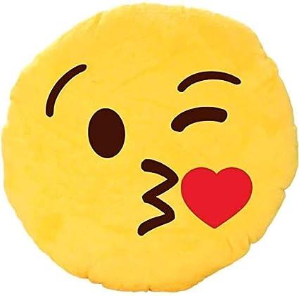 Preeti Textiles Toys Smiley Thick Plush Pillow Round Cushion Pillow Stuffed /Gift for Kids/for Birthday Gift/Room Decoration - , Yellow (Kissable Smiley)