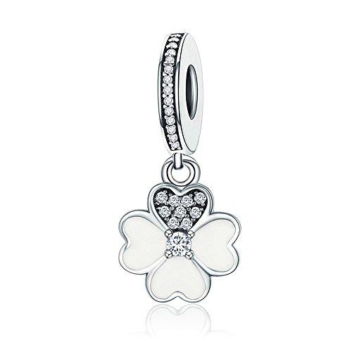 Everbling Lucky Clover Heart Petals Clover Good Luck Green CZ Dangle 925 Sterling Silver Bead for European Charm Bracelet (Heart Petals Clover ()