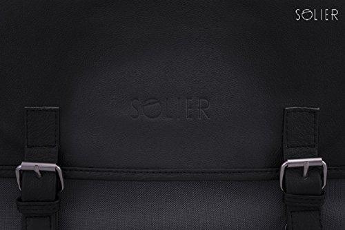 Solier - Bolso al hombro para hombre negro/gris