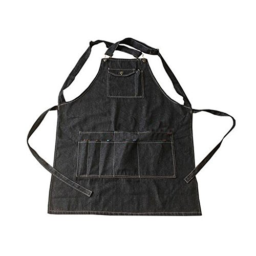 Black Cotton Denim Apron Cooking Apron With Pocket Strap For Barber Chef M by duojin