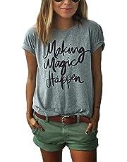 ZAWAPEMIA Womens Letter Printed Pullover Casual Tees T-Shirt Medium Gray