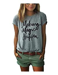 ZAWAPEMIA Womens Letter Printed Pullover Casual Tees T-Shirt