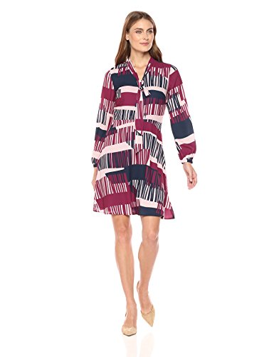 Abstract Print Dress (Lark & Ro Women's Tie Neck Dress, Abstract Deco Print, Small)