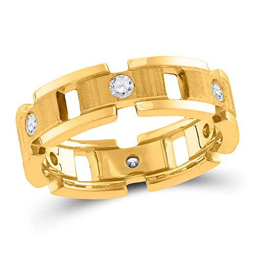 FB Jewels 14kt Yellow Gold Mens Round Diamond Link Chain Wedding Band Ring 1/2 Cttw (SI3 clarity; G-H color)