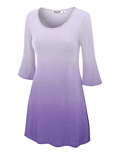 Lock and Love LL Womens Round Neck 3/4 Bell Sleeves Ombre Tunic Top - Made in USA