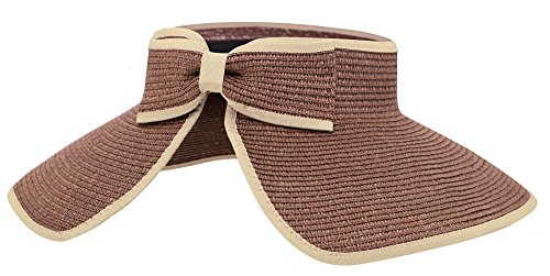 AbbyLexi Womens UV Sun Protective Roll-up Summer Visor Straw Hat