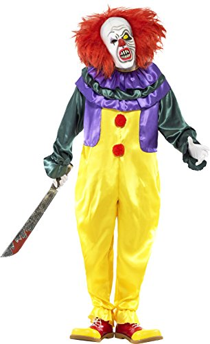 Smiffy's Men's Classic Horror Clown Costume, Jumpsuit and Mask, Cirque Sinister, Halloween, Size L, 24376