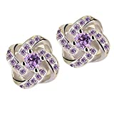 FRC0LT Simple Fashion Women's Glamorous Diamond Eternal Star Stud Earrings Jewelry (Purple, zirconium)