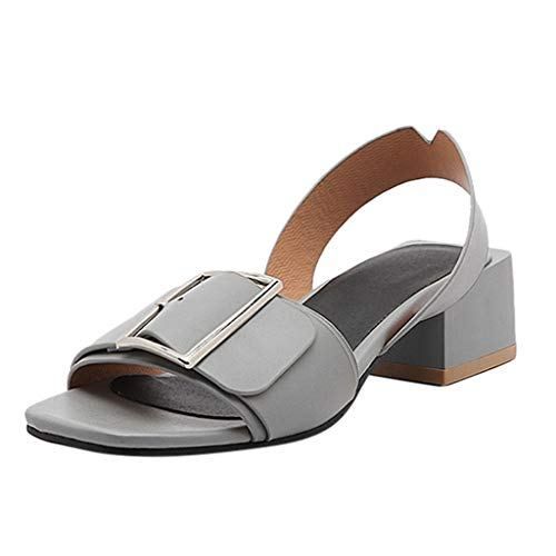 (One promise Summer Women's Belt Buckle Sandals Ladies Fashion Square Heel Rome Wild Shoes Grey)