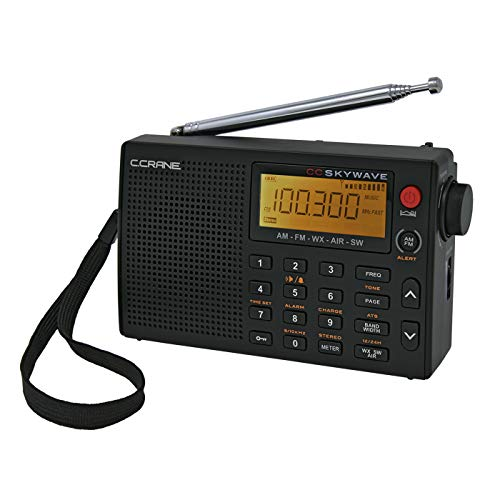 C Crane CC Skywave AM, FM, Shortwave, Weather and Airband Portable Travel Radio with Clock and Alarm ()