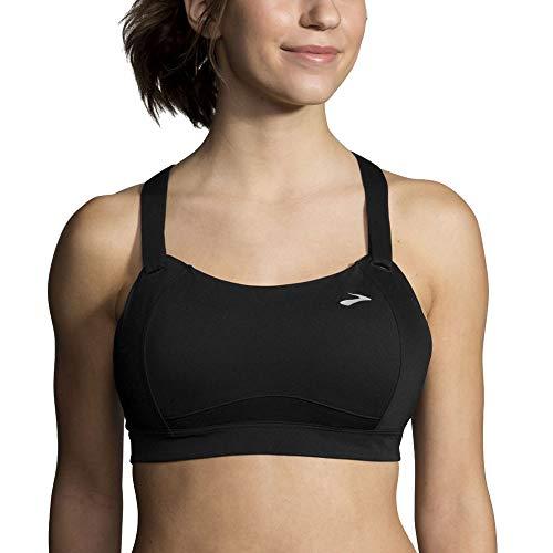 Brooks Women's Juno Cross Back Adjustable High-Impact Sports Bra | Moving Comfort Black 34D (Best Sports Bra For 34d)