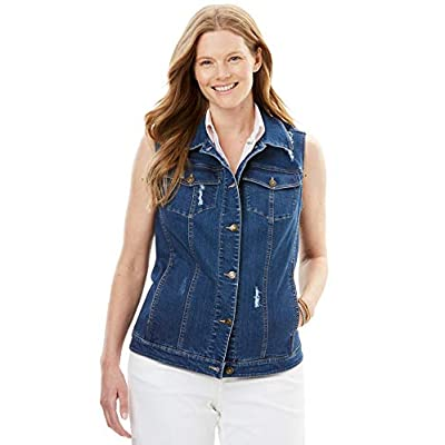 Woman Within Women's Plus Size Stretch Denim Vest at Women's Clothing store
