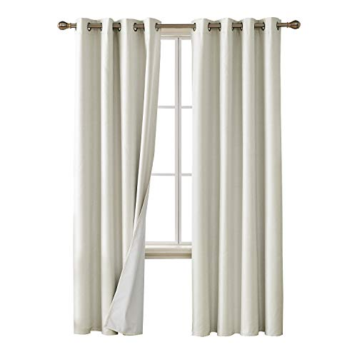 Deconovo Faux Linen Blackout Curtains with 3 Pass Coating Sun Blocking Thermal Insulated Room Darkening Grommet Curtains Panels for Bedroom 52 x 84 Inch 2 Panels Cream White