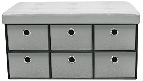 Sorbus Storage Ottoman Bench with Drawers – Collapsible Folding Bench Chest with Cover – Perfect for Entryway, Bedroom, Cubby Drawer Footstool, Contemporary Faux Leather (Gray) (Storage Drawers Chest)