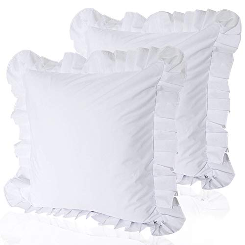 (Warm Day Square Euro Shams Pure White Ruffled Throw Pillow Covers Pack of 2 European Decorative Cushion Covers Set for Bed Couch Sofa Bench/Chair Solid Bedding 24 x 24 inch (50 cm))
