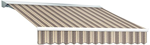 Awntech 14-Feet Destin LX with Hood Manual Retractable Acrylic Awning, 120-Inch Projection, Taupe Multi