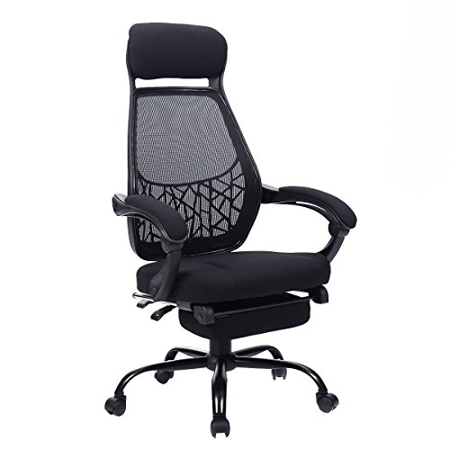 Giantex High Mesh Back Reclining Office Chair Computer Desk Task w/ Pull Out Ottoman - Office Reclining Ottoman