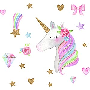 Easma Unicorn Wall Decals Bedroom Wall Decor Girls Wall Decals Girls Bedroom Wall Decor Unicorn Peel and Stick Party Decorations Peel and Stick Wall Decals Rainbow Diamond Wall Decals