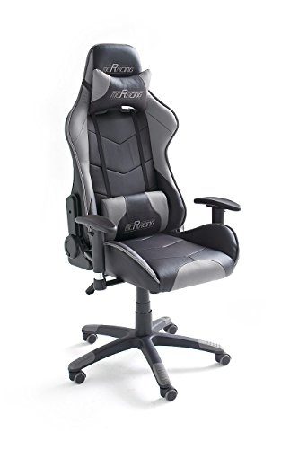 MC Racing 6 Silla Gaming, 60% PU, 40% PVC, Negro y Gris Brillante, 58x69x125 cm