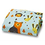 """Amadora Brushed Ultra Microfiber Woodland Luxury Fitted Crib Sheet for Boys and Girls -Fox and Owl- Crib Sheet Is Made From Super Soft and Gentle Microfiber That Is As Soft As 1500 Thread Count Cotton, Making It Perfect for Delicate and Sensitive Baby Skin; This Design Crib Sheet Fits a Standard 52"""""""