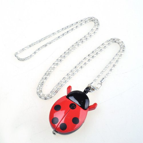 BestDealUSA Red Ladybug Shape Stainless Necklace Pocket Pendant - Ladybug Necklace Watch