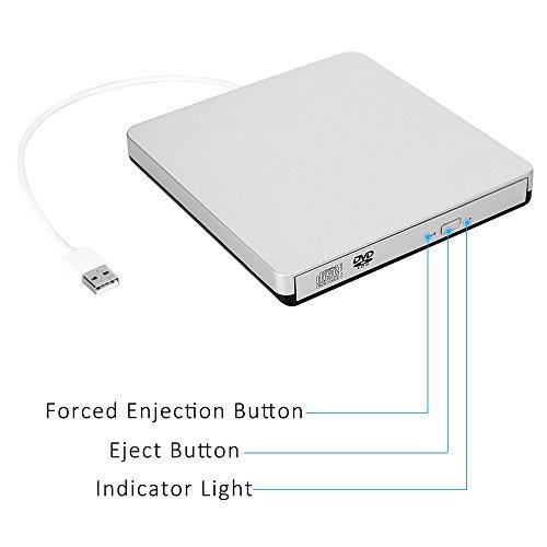 TOPTRU External CD Drive USB 2.0 DVD Burner Reader Recorder Writer Rewriter for Win10/Win8/Apple Macbook Pro, Desktop, Laptop,Notebook by TOPCHU (Image #3)