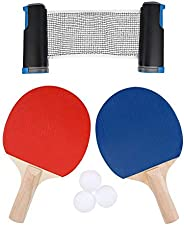 Portable Table Tennis Net Rack, Table Tennis Set 2 Bats and 3 Balls, for Ping Pong Table, Office Desk, Dining