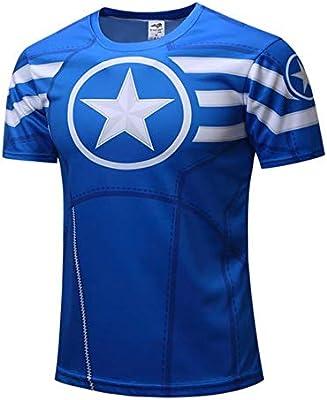 Yuxua Capitán América Camiseta 3D Hombres Ropa de Compresión de Fitness Camisas Tops Estampado Masculino Superhéroe Superman Castigador Crossfit Anime Camisetas en B XS: Amazon.es: Deportes y aire libre