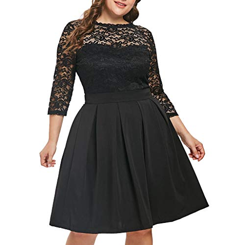 Plus Size Lace Dress for Women Bxzhiri Solid O-Neck 3/4 Sleeve Flare A-Line Dress Black